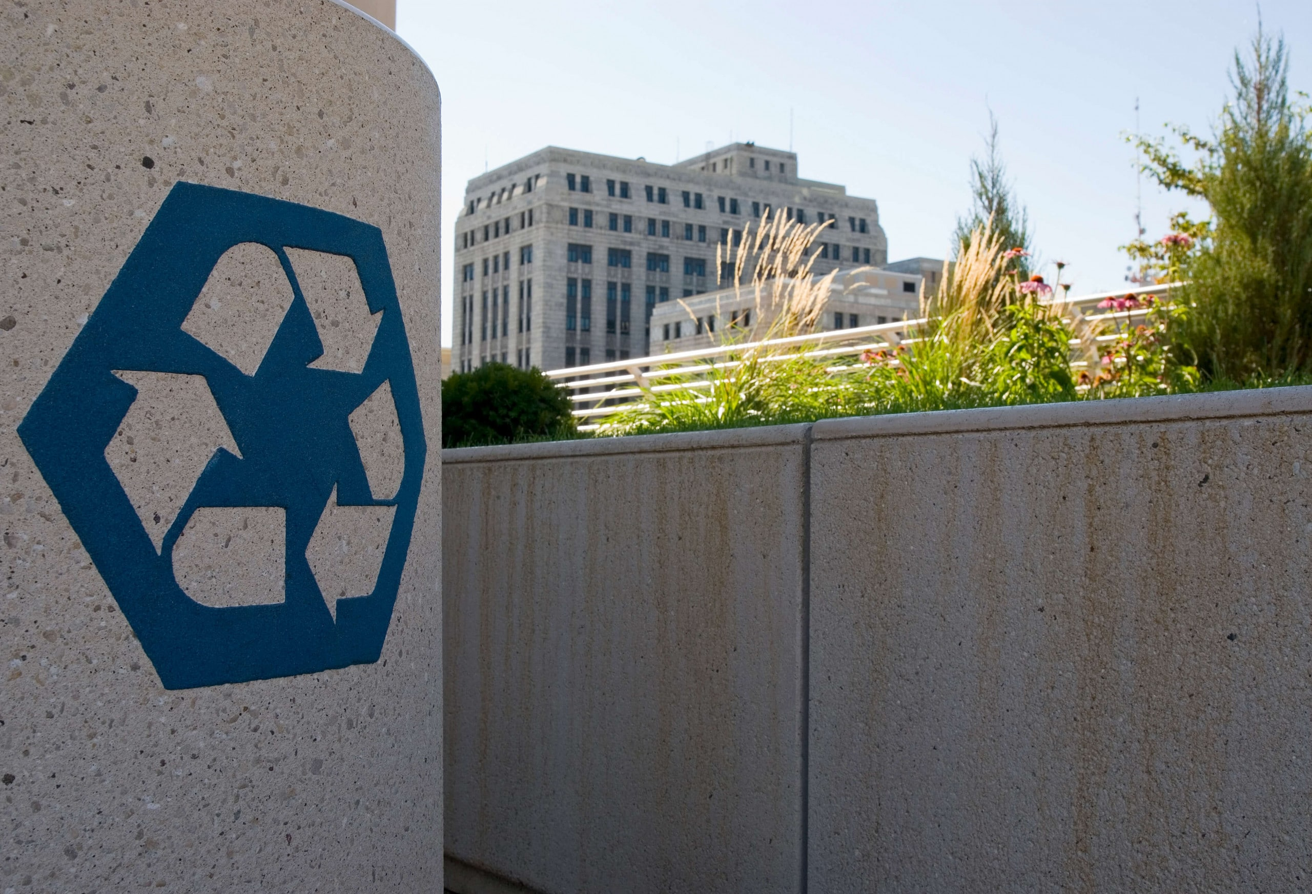 Recycling receptacle, Monona Terrace rooftop