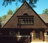 A front view of the house Frank Lloyd Wright built in 1889