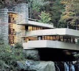 A distant view of Fallingwater house among green trees designed by Frank Lloyd Wright