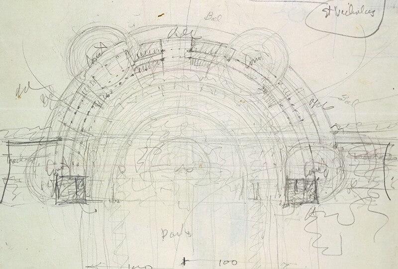 Frank Lloyd Wright's design sketch of Monona Terrace in 1938