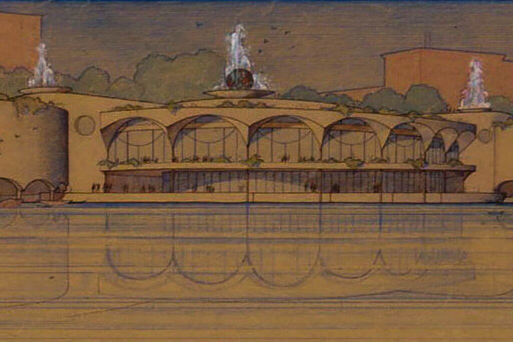 An old drawing of Monona Terrace by Frank Lloyd Wright