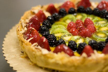 A close-up photo of a berry fruit tart.