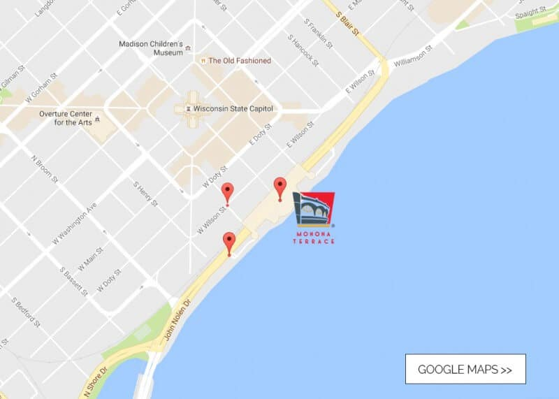 A Google Map image showing Monona Terrace's location