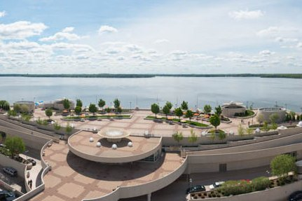 An aerial view of Monona Terrace Rooftop