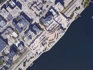 A satellite view of Monona Terrace