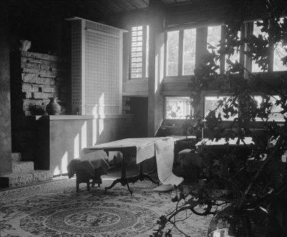 A black-and-white photograph by Guerrero of Wright's study room with a desk, a rug, and a plant, light coming in through the windows.