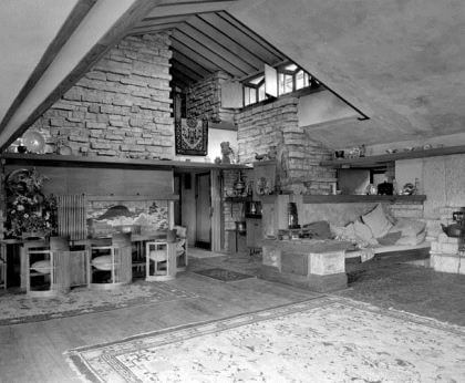 A black-and-white photograph by Guerrero of a room of a house.