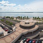 Monona Terrace surrounded by water