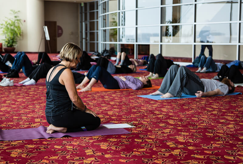 Lunchtime yoga at Monona Terrace