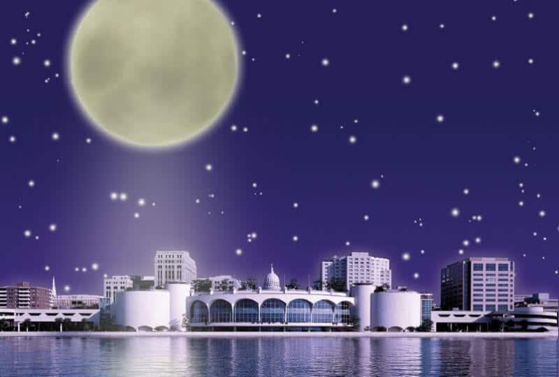 Moon over Monona Terrace