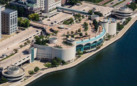 Aerial view of Monona Terrace