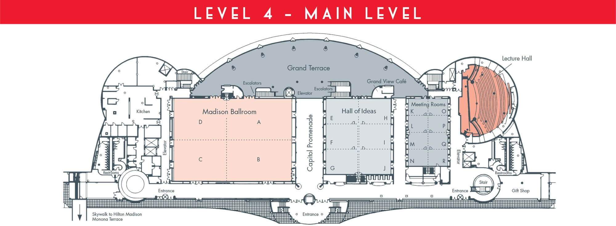 Floorplans for meeting rooms conventions monona terrace for Terrace level