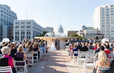 Monona Terrace lakeside Fountain Wedding on the Rooftop