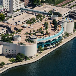 Aerial view of Monona Terrace standing out on the lakeshore