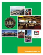 The cover of Monona Terrace 2015 Annual Report with a collage of pictures of the building, Leed gold plaque, and events.