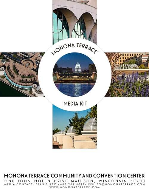 The cover of Monona Terrace Media Kit with four thumbnail images of the building.