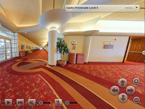 A picture of a hallway taken from a 360 Tour of Monona Terrace