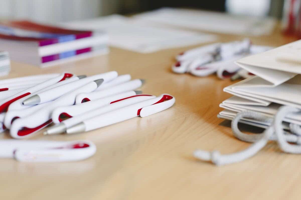 Ballpoint pens as merchandising to promote a company