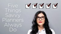 Five Things that Savvy Planners Always Do Checklist with young businesswoman in a thoughtful face