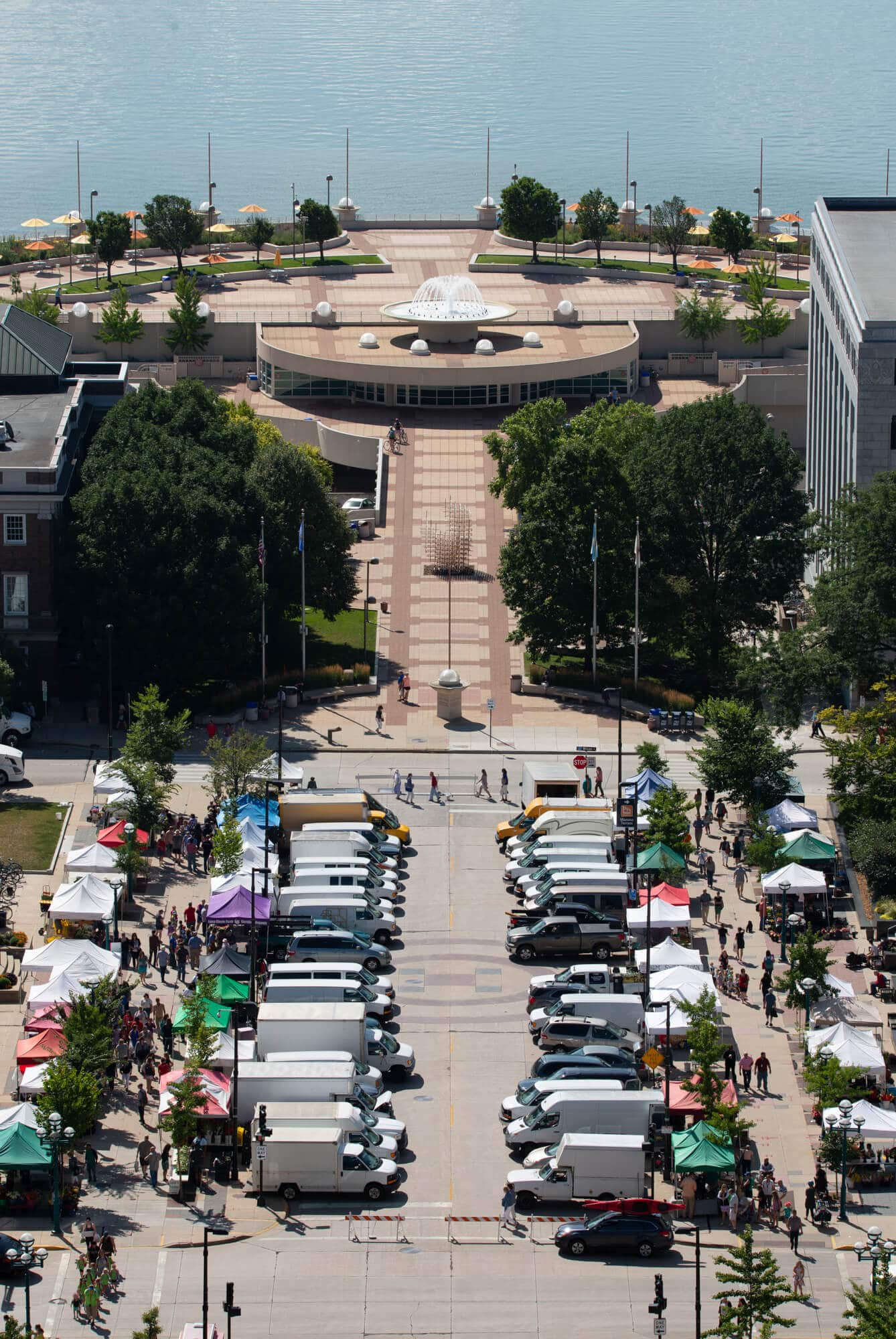 Wednesday Farmers Market and Olin Terrace and Monona Terrace Rooftop and Lake Monona